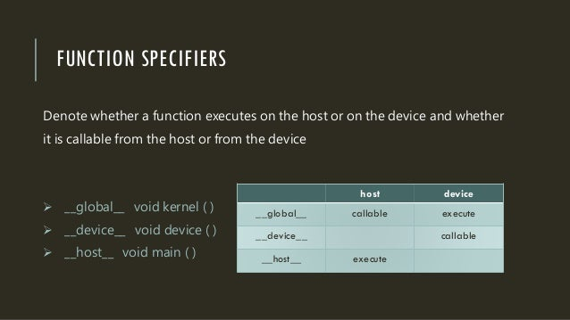 FUNCTION SPECIFIERS Denote whether a function executes on the host or on the device and whether it is callable from the ho...