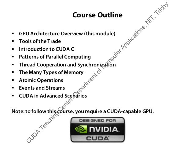 Course Outline ƒ GPU Architecture Overview (this module) ƒ Tools of the Trade ƒ Introduction to CUDA C ƒ Patterns of Paral...