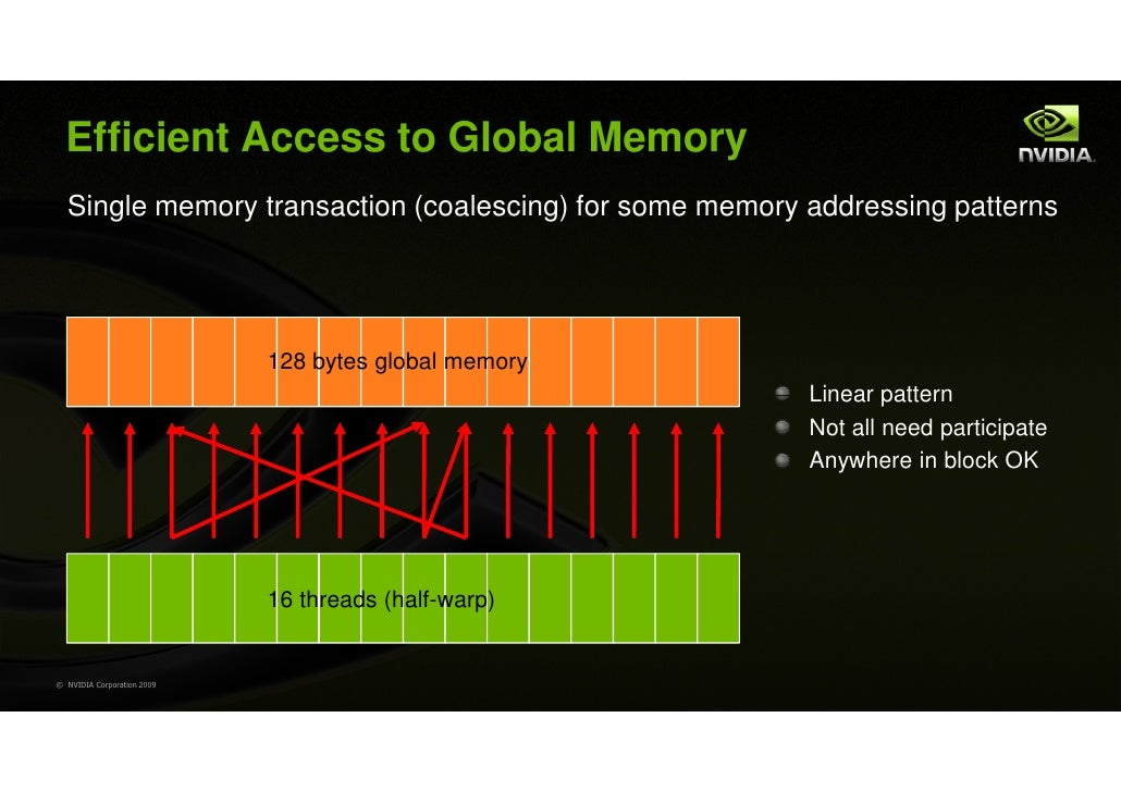 Efficient Access to Global Memory  Single memory transaction (coalescing) for some memory addressing patterns             ...