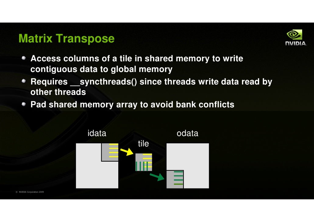 Matrix Transpose             Access columns of a tile in shared memory to write             contiguous data to global memo...