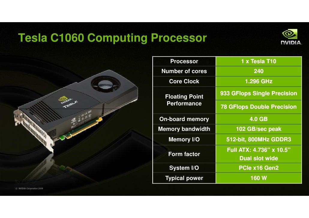 Tesla C1060 Computing Processor                               Processor              1 x Tesla T10                        ...
