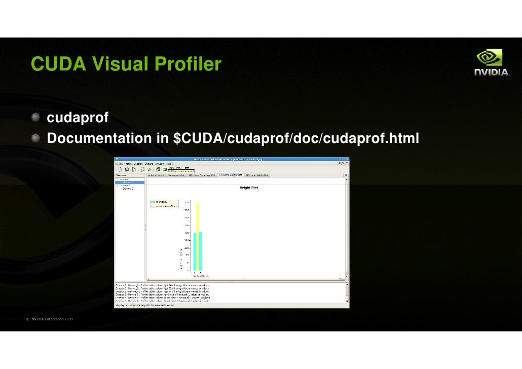 CUDA Visual Profiler           cudaprof           Documentation in $CUDA/cudaprof/doc/cudaprof.html© NVIDIA Corporation 2009