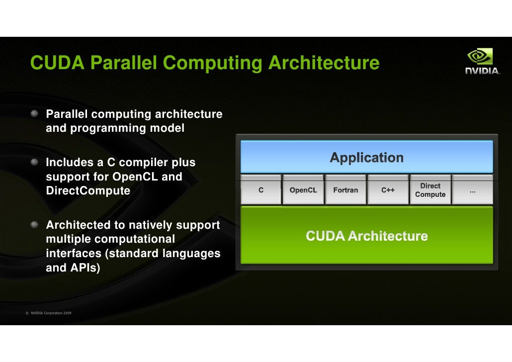 CUDA Parallel Computing Architecture           Parallel computing architecture           and programming model           I...