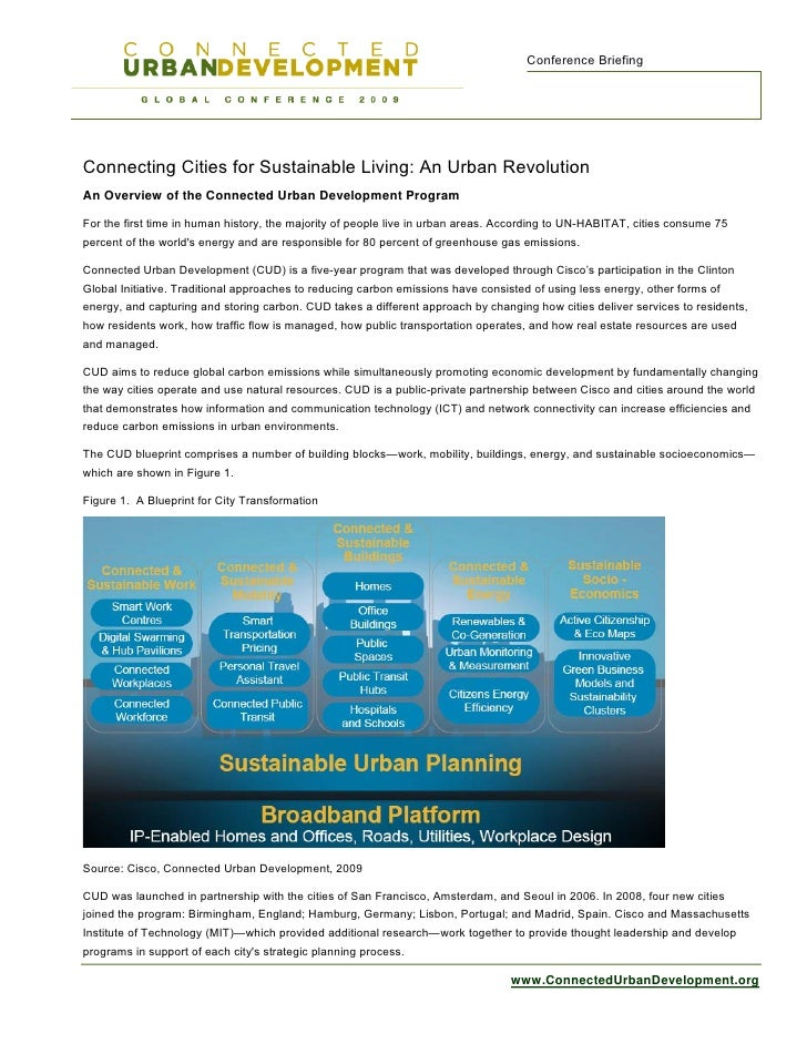 Conference Briefing     Connecting Cities for Sustainable Living: An Urban Revolution An Overview of the Connected Urban D...