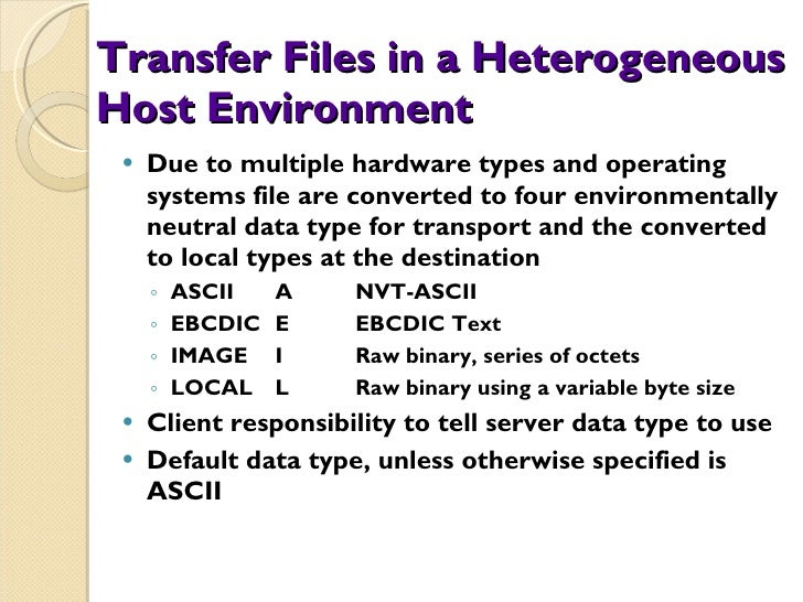 Transfer Files in a Heterogeneous Host Environment <ul><li>Due to multiple hardware types and operating systems file are c...