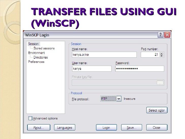 TRANSFER FILES USING GUI (WinSCP)