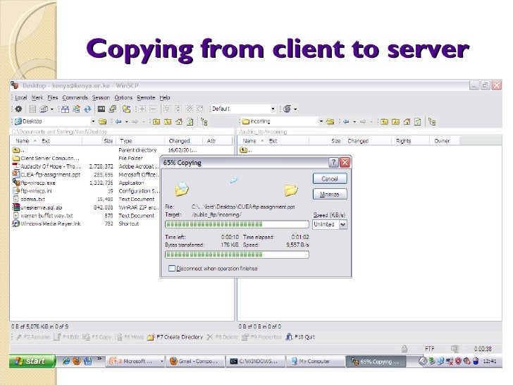 Copying from client to server