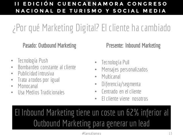 ¿Por qué Marketing Digital? El cliente ha cambiado Pasado: Outbound Marketing • Tecnología Push • Bombardeo constante al c...