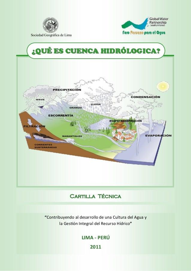 """""""Contribuyendo al desarrollo de una Cultura del Agua y la Gestión Integral del Recurso Hídrico"""" LIMA - PERÚ 2011 Cartilla ..."""