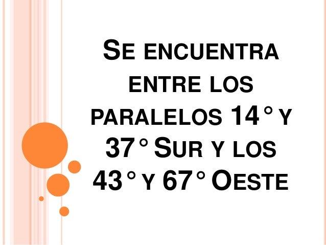 SE ENCUENTRA  ENTRE LOS  PARALELOS 14° Y  37° SUR Y LOS  43° Y 67° OESTE