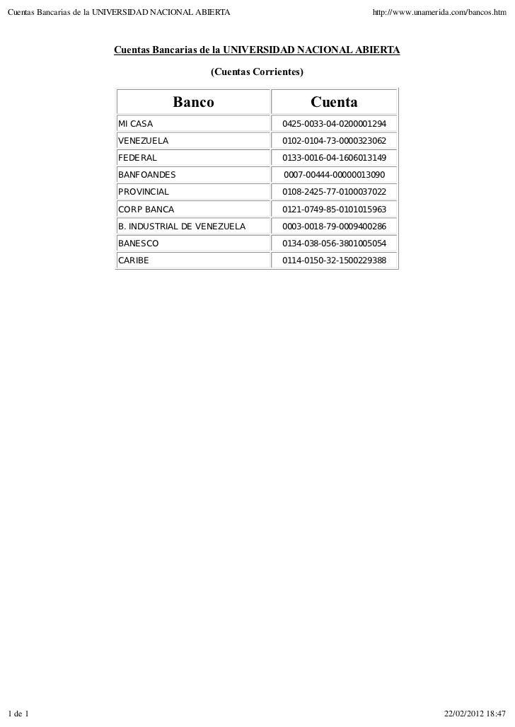 Cuentas Bancarias de la UNIVERSIDAD NACIONAL ABIERTA                             http://www.unamerida.com/bancos.htm      ...