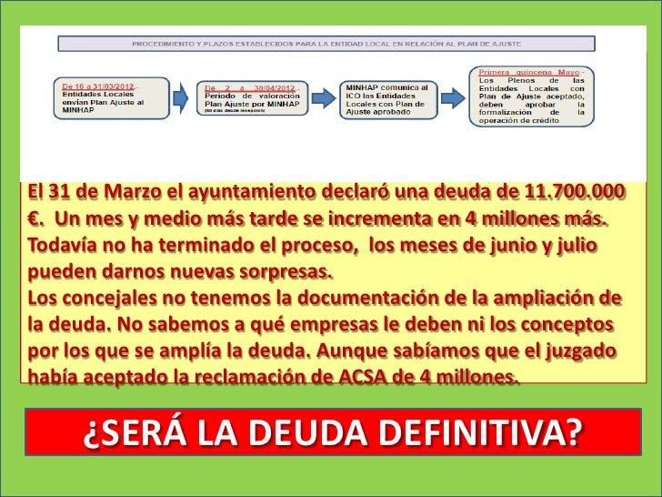 El 31 de Marzo el ayuntamiento declaró una deuda de 11.700.000€. Un mes y medio más tarde se incrementa en 4 millones más....