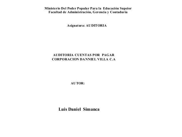 Ministerio Del Poder Popular Para la Educación Supeior Facultad de Administración, Gerencia y Contaduría Asignatura: AUDIT...