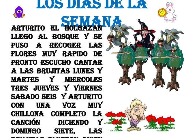 LOS DIAS DE LA SEMANA ARTURITO EL HOLGAZAN LLEGO AL BOSQUE Y SE PUSO A RECOGER LAS FLORES MUY RAPIDO DE PRONTO ESCUCHO CAN...