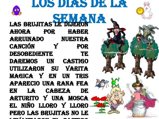 LOS DIAS DE LA SEMANA LAS BRUJITAS LE DIJERON AHORA POR HABER ARRUINADO NUESTRA CANCIÓN Y POR DESOBEDIENTE TE DAREMOS UN C...