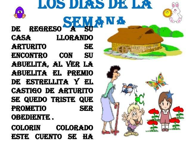 LOS DIAS DE LA SEMANA REGRESO A SU  DE CASA LLORANDO ARTURITO SE ENCONTRO CON SU ABUELITA, AL VER LA ABUELITA EL PREMIO DE...