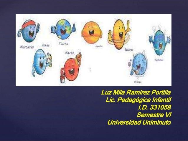 Luz Mila Ramirez Portilla Lic. Pedagógica Infantil I.D. 331058 Semestre Vl Universidad Uniminuto