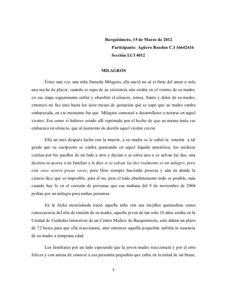 Barquisimeto, 15 de Marzo de 2012                                             Participante: Agüero Roselen C.I 16642616   ...