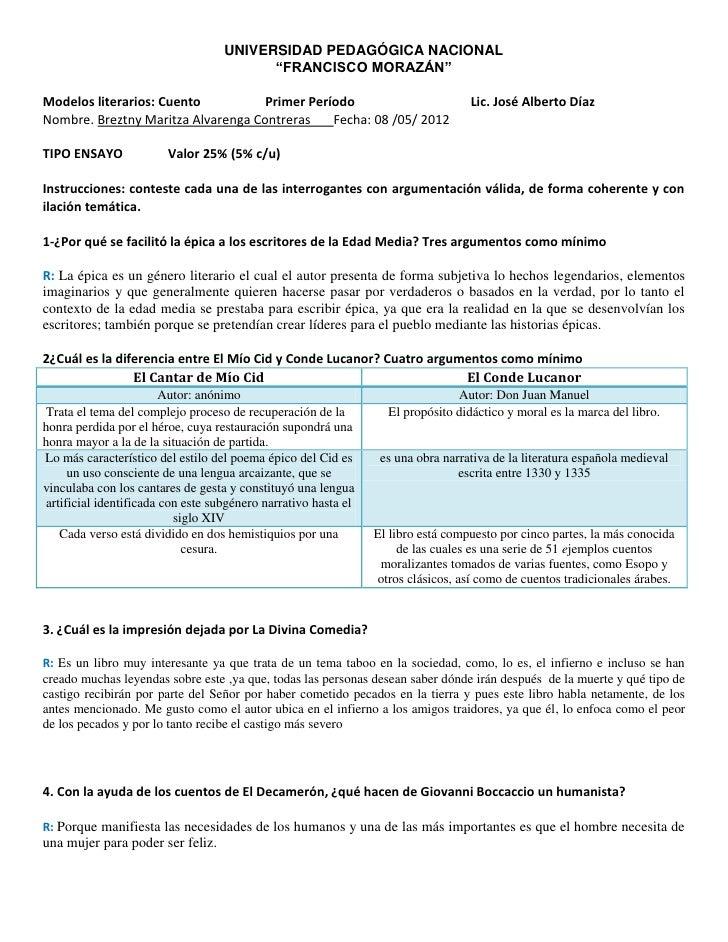 """UNIVERSIDAD PEDAGÓGICA NACIONAL                                          """"FRANCISCO MORAZÁN""""Modelos literarios: Cuento    ..."""