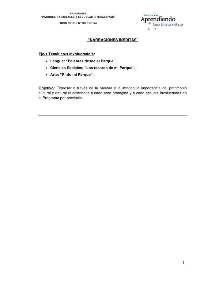"""PROGRAMA     """"PARQUES NACIONALES Y ESCUELAS INTERACTIVAS""""                LIBRO DE CUENTOS DIGITAL                         ..."""