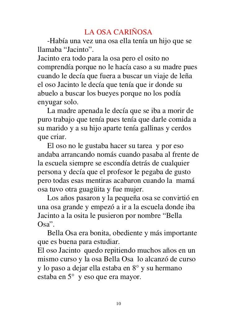 """LA OSA CARIÑOSA    -Había una vez una osa ella tenía un hijo que sellamaba """"Jacinto"""".Jacinto era todo para la osa pero el ..."""