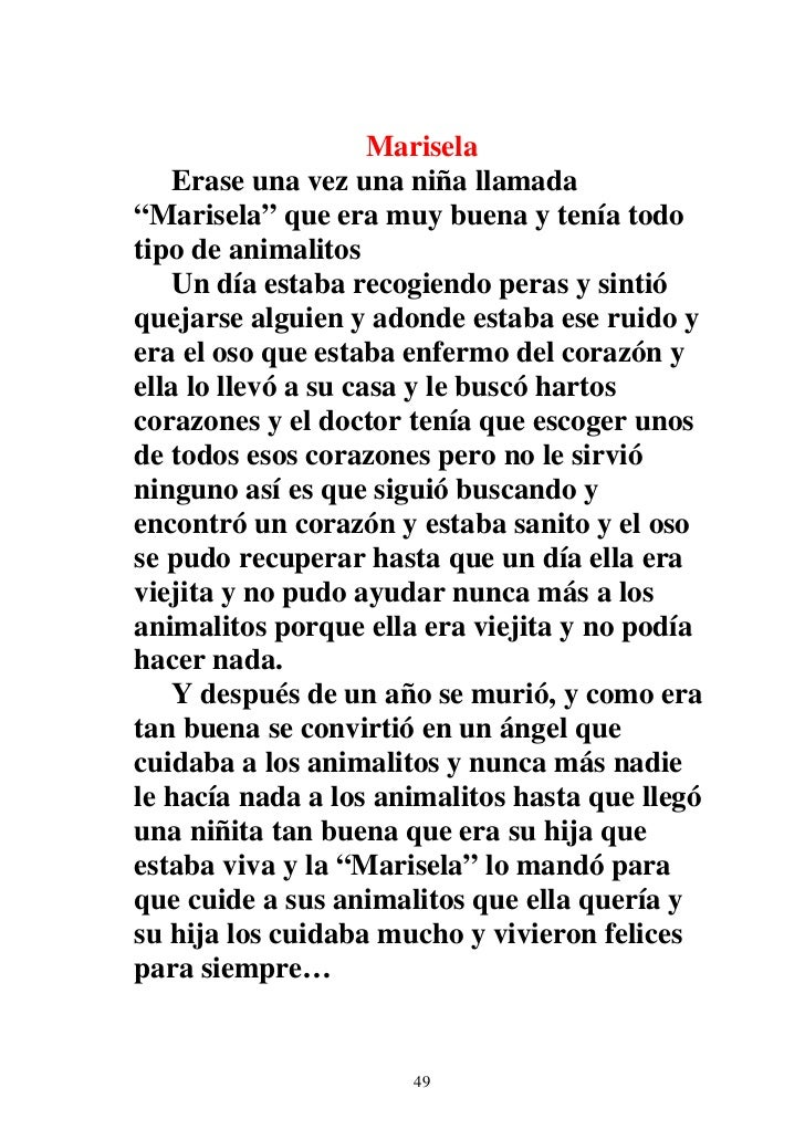 """Marisela    Erase una vez una niña llamada""""Marisela"""" que era muy buena y tenía todotipo de animalitos    Un día estaba rec..."""