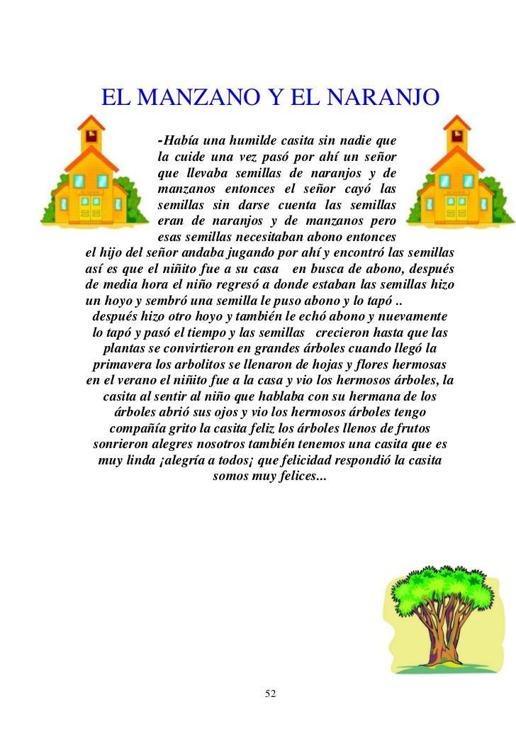 EL MANZANO Y EL NARANJO             -Había una humilde casita sin nadie que              la cuide una vez pasó por ahí un ...