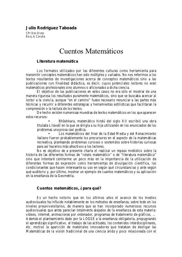 Julio Rodríguez TaboadaCPI Dos DicesRois, A Coruña                       Cuentos Matemáticos        Literatura matemática ...
