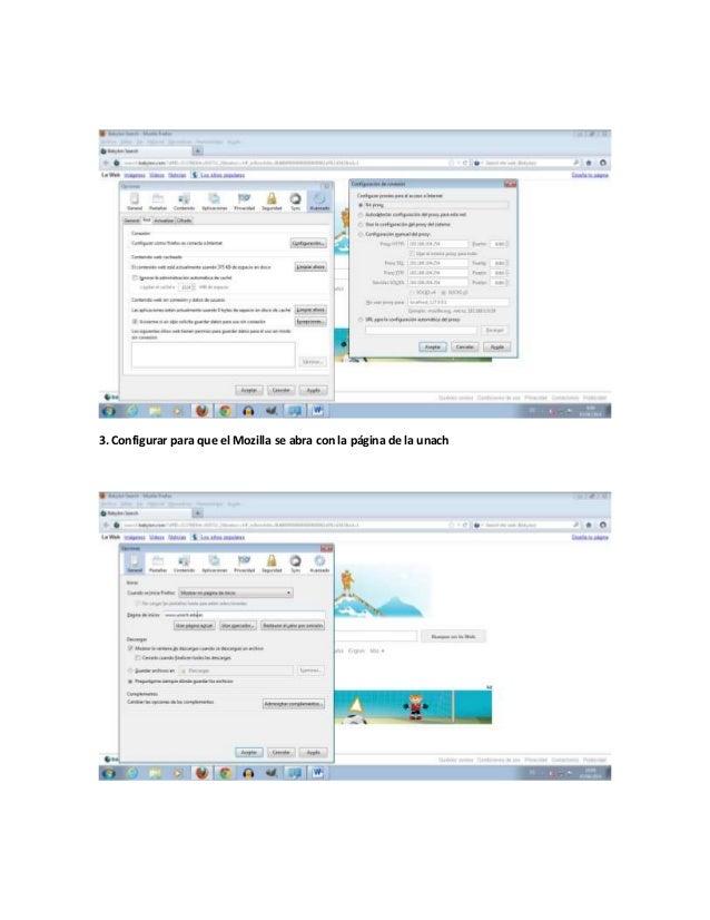 3. Configurar para que el Mozilla se abra con la página de la unach