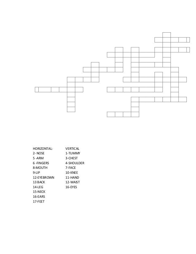 HORIZONTAL:   VERTICAL2- NOSE       1-TUMMY5 -ARM        3-CHEST6 -FINGERS    4-SHOULDER8-MOUTH       7-FACE9-LIP         ...