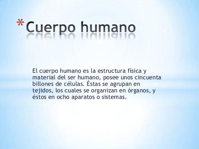 * El cuerpo humano es la estructura física y material del ser humano, posee unos cincuenta billones de células. Éstas se a...