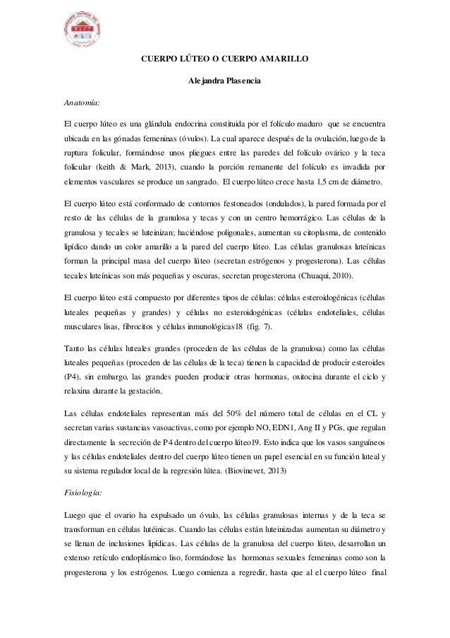 CUERPO LÚTEO O CUERPO AMARILLO Alejandra Plasencia Anatomía: El cuerpo lúteo es una glándula endocrina constituida por el ...