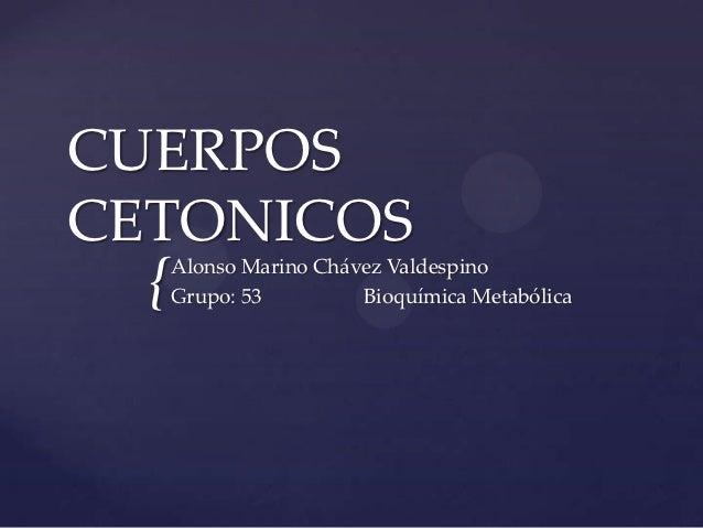 CUERPOSCETONICOS  {   Alonso Marino Chávez Valdespino      Grupo: 53         Bioquímica Metabólica