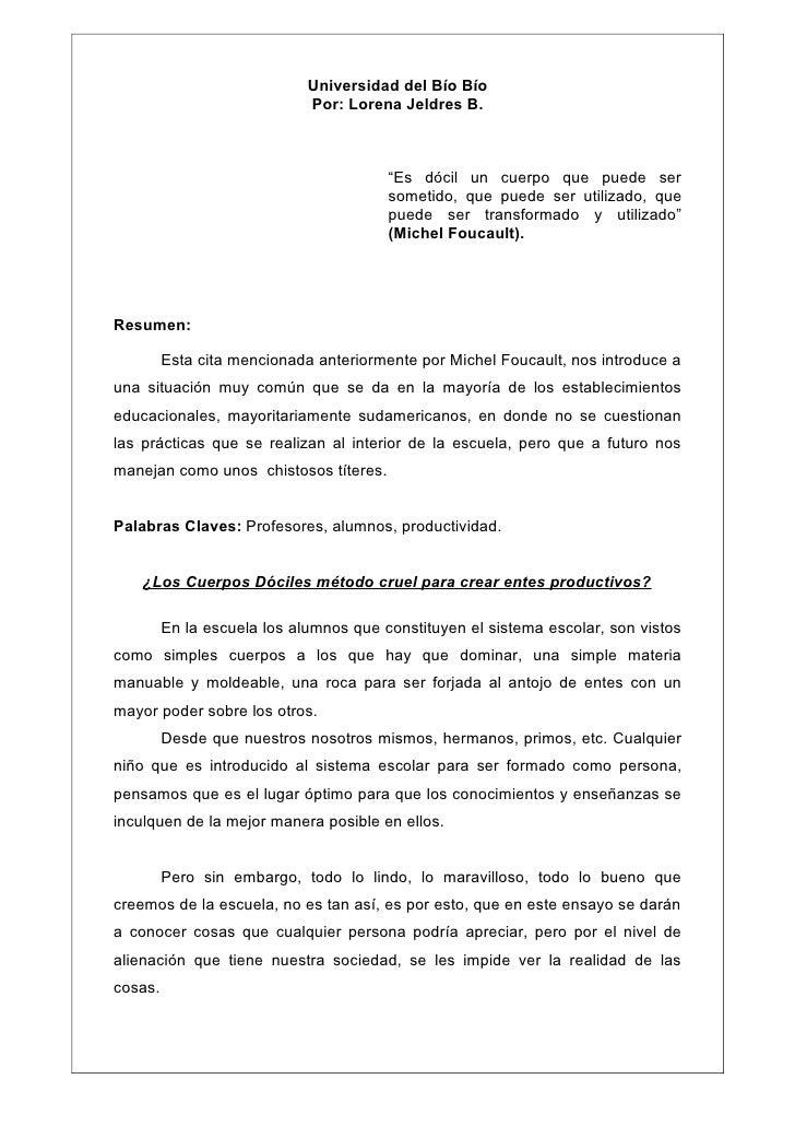 """Universidad del Bío Bío                             Por: Lorena Jeldres B.                                        """"Es dóci..."""
