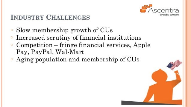 INDUSTRY CHALLENGES  ○ Slow membership growth of CUs  ○ Increased scrutiny of financial institutions  ○ Competition – frin...