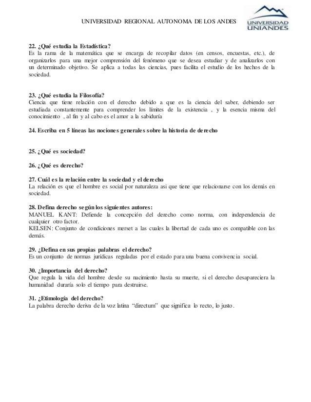 UNIVERSIDAD REGIONAL AUTONOMA DE LOS ANDES 22. ¿Qué estudia la Estadística? Es la rama de la matemática que se encarga de ...