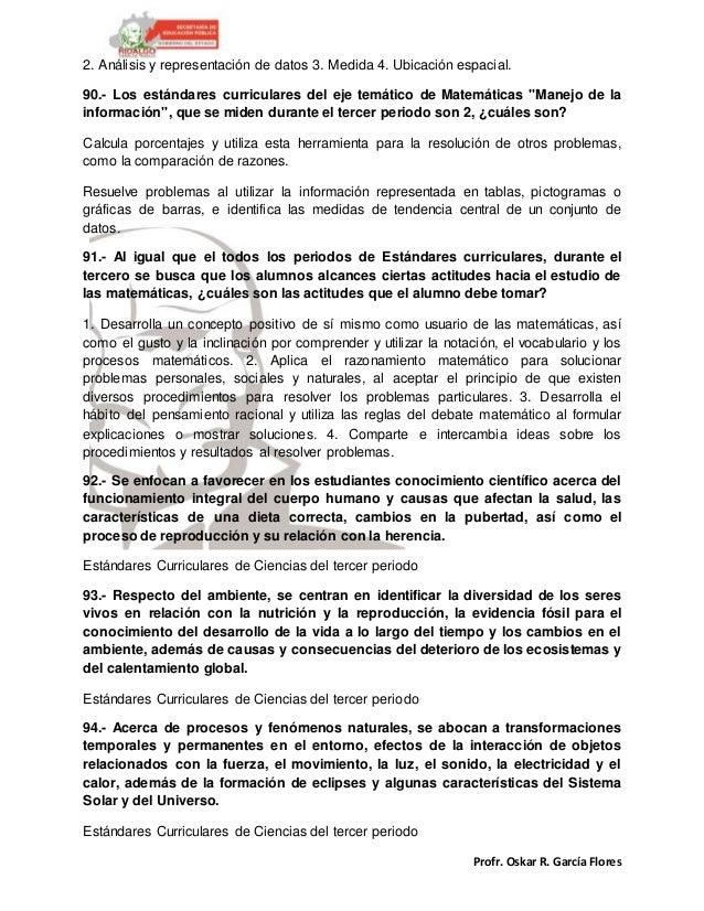 Profr. Oskar R. García Flores 2. Análisis y representación de datos 3. Medida 4. Ubicación espacial. 90.- Los estándares c...