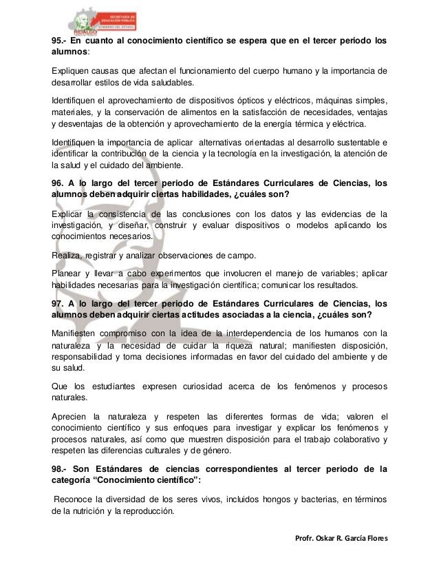 Profr. Oskar R. García Flores 95.- En cuanto al conocimiento científico se espera que en el tercer periodo los alumnos: Ex...