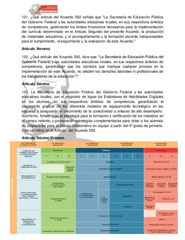"""Profr. Oskar R. García Flores 121. ¿Qué artículo del Acuerdo 592 señala que """"La Secretaría de Educación Pública del Gobier..."""