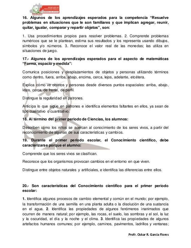 """Profr. Oskar R. García Flores 16. Algunos de los aprendizajes esperados para la competencia """"Resuelve problemas en situaci..."""