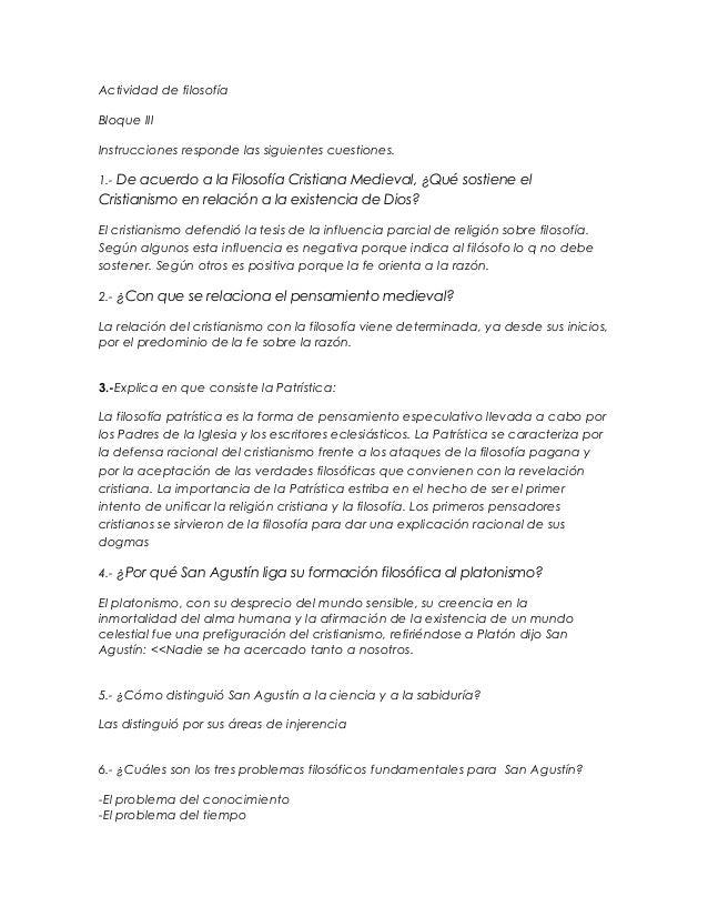 Actividad de filosofía Bloque III Instrucciones responde las siguientes cuestiones. 1.- De acuerdo a la Filosofía Cristian...