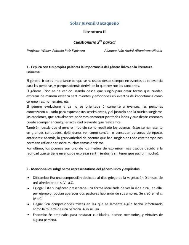 Solar Juvenil Oaxaqueño                                      Literatura II                                Cuestionario 2do...