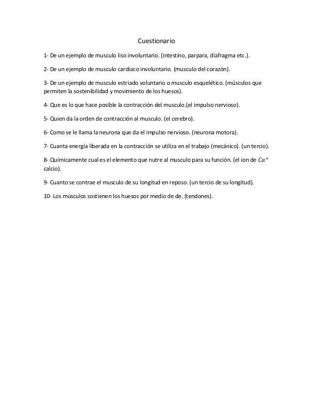 Cuestionario de fisiologia de el tejido muscular