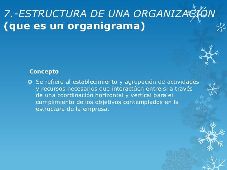 7.-ESTRUCTURA DE UNA ORGANIZACIÓN(que es un organigrama)   Concepto    Se refiere al establecimiento y agrupación de acti...