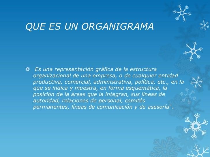 QUE ES UN ORGANIGRAMA Es una representación gráfica de la estructura  organizacional de una empresa, o de cualquier entid...