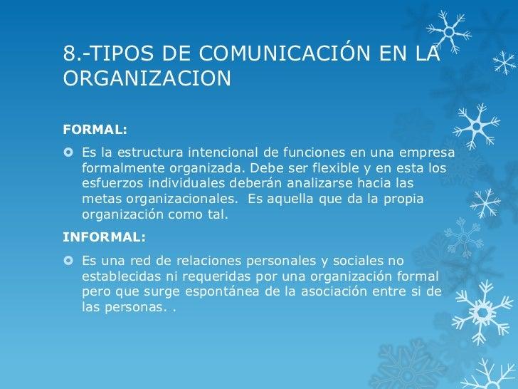8.-TIPOS DE COMUNICACIÓN EN LAORGANIZACIONFORMAL: Es la estructura intencional de funciones en una empresa  formalmente o...