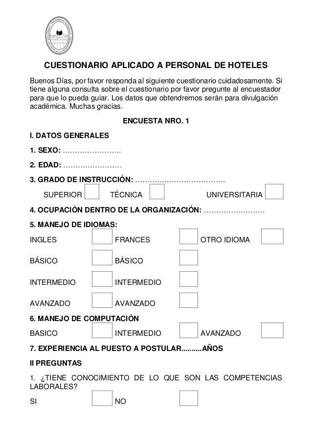 Cuestionario aplicado a personal de hoteles for Hoteles para 5 personas