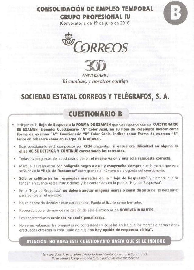 EXAMEN CORREOS 2016