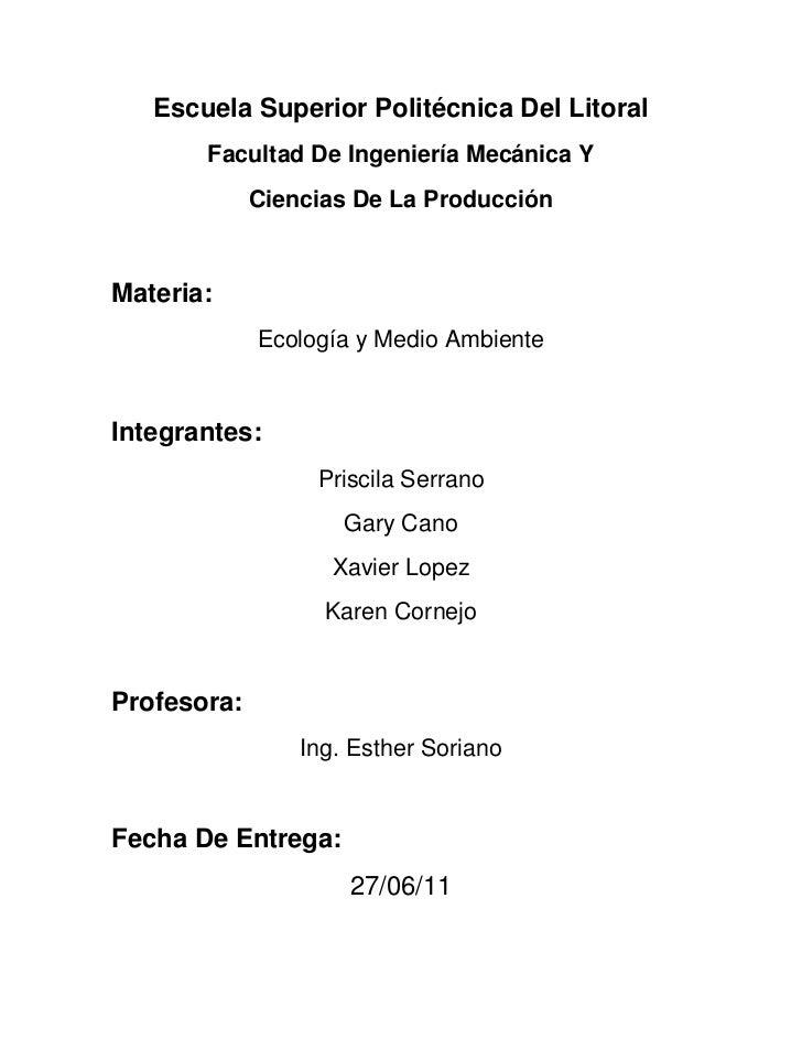 Escuela Superior Politécnica Del Litoral<br />Facultad De Ingeniería Mecánica Y <br />Ciencias De La Producción <br />Mate...