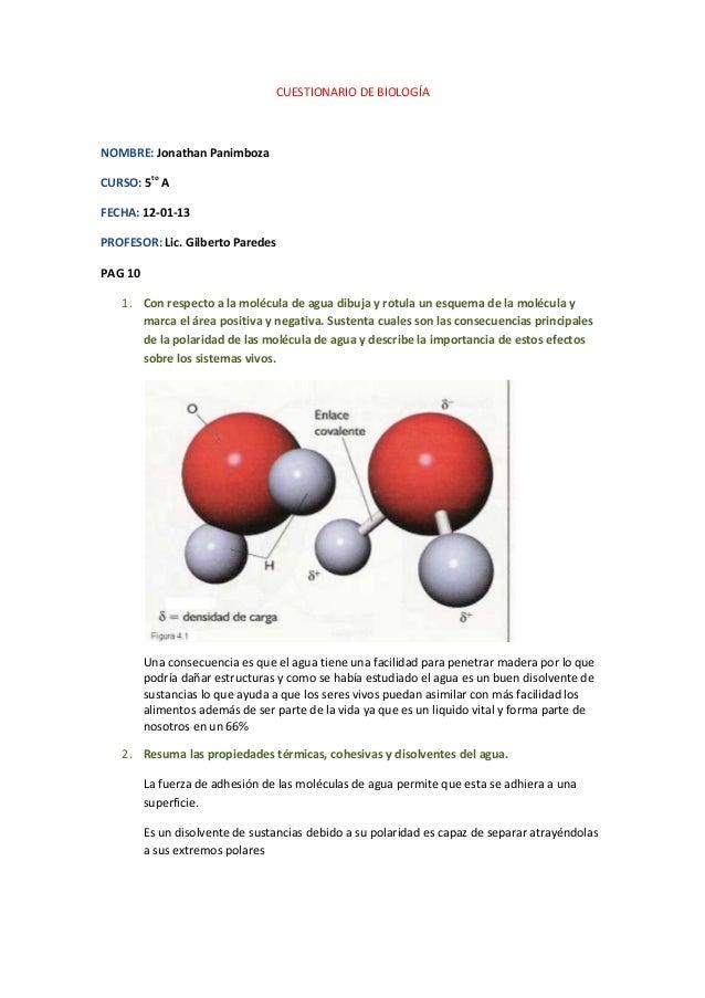 CUESTIONARIO DE BIOLOGÍANOMBRE: Jonathan PanimbozaCURSO: 5to AFECHA: 12-01-13PROFESOR: Lic. Gilberto ParedesPAG 10   1. Co...